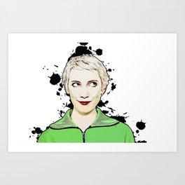 Portrait of Women Looking Up Vector Pop Art illustration Art Print