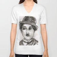 charlie V-neck T-shirts featuring Charlie by sladja