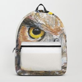 Owl Watercolor Great Horned Owl Painting Backpack