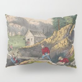Vintage California Gold Rush Illustration (1871) Pillow Sham