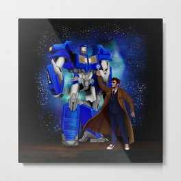 10th Doctor who with Giant retro Robot Phone Box iPhone, ipod, ipad, pillow case and tshirt Metal Print