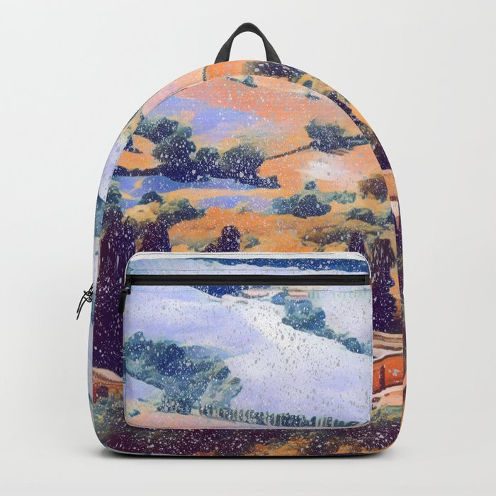Snow falling on Tuscany Backpack