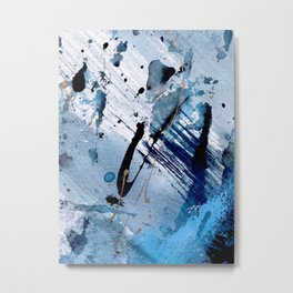 Breathe [2]: colorful abstract in black, blue, purple, gold and white Metal Print