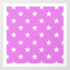 Stars (White/Violet) Art Print