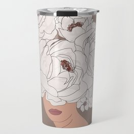 Woman with Peonies Travel Mug