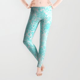 Aqua Blue Damask Leggings
