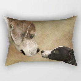 Nose To Nose Dogs Rectangular Pillow
