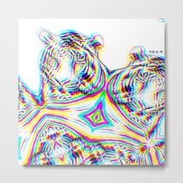 Tiger 4, glitched  Metal Print