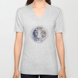 White Tiger with Blue Eyes Unisex V-Neck