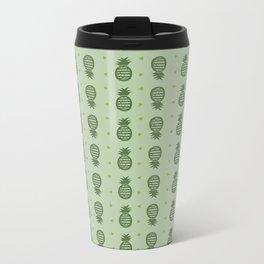 Pineapple Pattern - Greens Metal Travel Mug