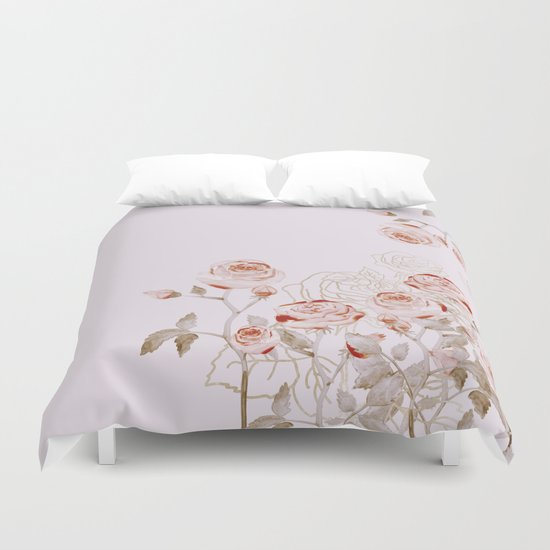 FRENCH PALE ROSES Duvet Cover