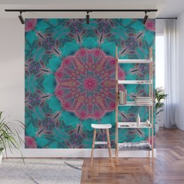 Pink Turquoise Kaleidoscope Mandala - Abstract Art by Fluid Nature Wall Mural