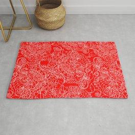 Geometric seamless pattern pink openwork pattern on a scarlet background. Rug