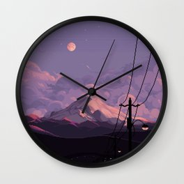 Mt Rainier with Powerlines Wall Clock