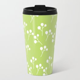 Modern abstract lime green white geometric floral Travel Mug