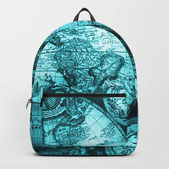 Turquoise Antique World Map Backpack