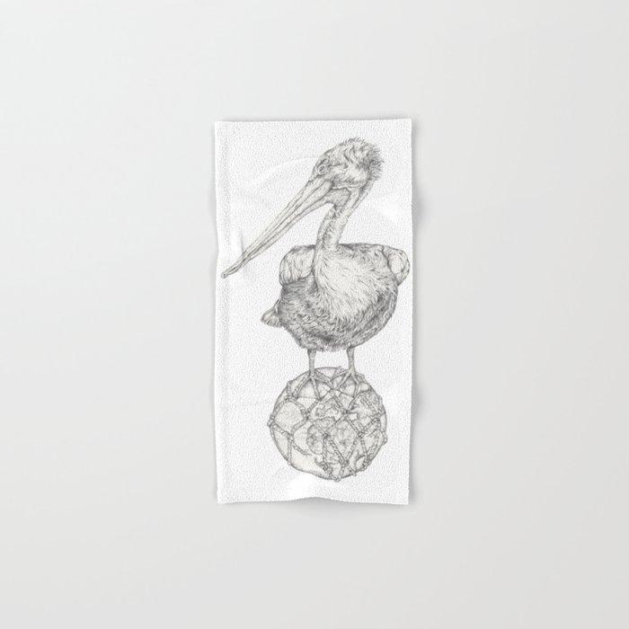 Holding on - The Dalmatian Pelican Hand & Bath Towel