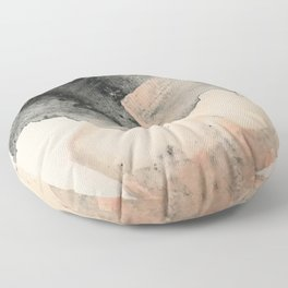 Peace and Quiet [2]: a pretty, minimal abstract piece in gray and peach by Alyssa Hamilton Art Floor Pillow