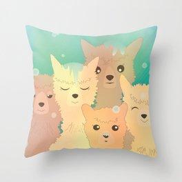 Alpaca Family I - Mint Green Snow Background Throw Pillow