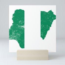Distressed Nigeria Map Mini Art Print