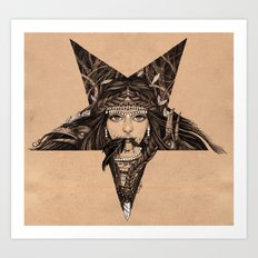 Lady of the Dark Star (coffee) Art Print