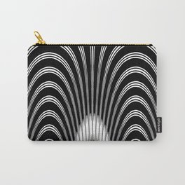 Geometric Black and White Abstract Skeletal Pattern Carry-All Pouch