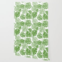 Linocut Monstera Leaf Pattern Wallpaper