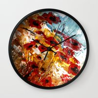poppies Wall Clocks featuring Poppies by James Peart