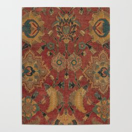 Flowery Boho Rug II // 17th Century Distressed Colorful Red Navy Blue Burlap Tan Ornate Accent Patte Poster