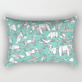 origami animal ditsy mint Rectangular Pillow