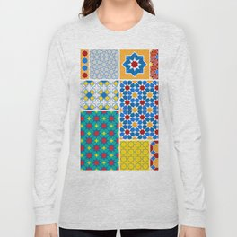 Moroccan pattern, Morocco. Patchwork mosaic with traditional folk geometric ornament. Tribal orienta Long Sleeve T-shirt