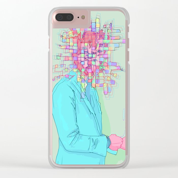 Psychedelic face Clear iPhone Case