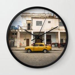 Bright yellow vintage car in La Havana, Cuba. Wall Clock
