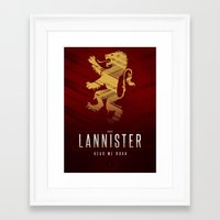 lannister Framed Art Prints featuring House Lannister Sigil III (house words) by P3RF3KT