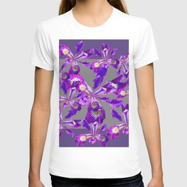 Abstract Purple Iris Floral Garden Grey  Art T-shirt