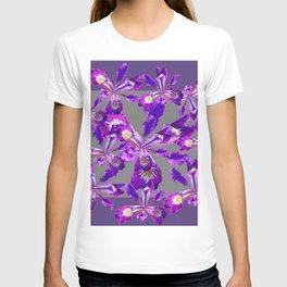 Abstract Purple Iris Floral Garden Grey  Art T-shirt