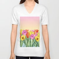 tulips V-neck T-shirts featuring Tulips by Julia Badeeva