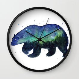 Polar Bear Silhouette with Northern Lights Galaxy Wall Clock