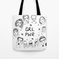 cactei Tote Bags featuring GRLPWR by ☿ cactei ☿