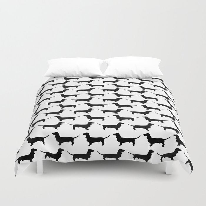 Dachshund Silhouette Black and White Pattern Bettbezug