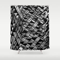 Moving Panes Black & White Shower Curtain