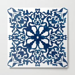 Portuguese inspired tile art in blue hues Metal Print