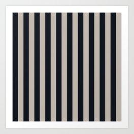 Vertical Stripes Black & Warm Gray Art Print