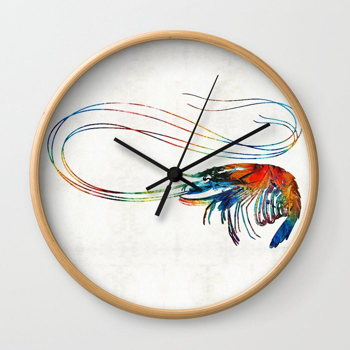 Colorful Shrimp Art by Sharon Cummings Wall Clock