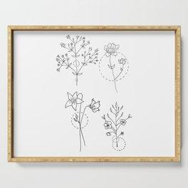 Geometrical Wildflower Bouquet Quartet Serving Tray