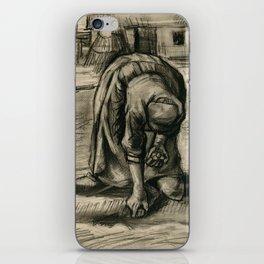 Vincent Van Gogh Peasant Woman Planting Potatoes iPhone Skin