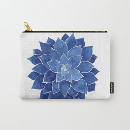 Indigo Succulent |  Watercolor Painting Carry-All Pouch