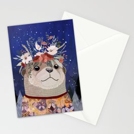 Otter watching stars Stationery Cards