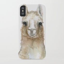 Llama Watercolor Painting iPhone Case