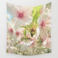 cherry blossom Wall Tapestries featuring Cherry Blossom by Cassia Beck